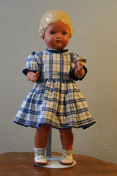 Schildkrötpuppe Bärbel VINTAGE Puppe Schildkröt 41 cm blond blaue Augen + Kleid | eBay