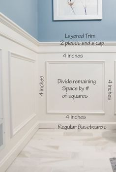 Wainscoting ideas for designing and installing a classic style wainscoting. This example utilizes the bathroom. Installing wainscoting adds an elegance to a room you can't get any other way. DIY project tutorial for classic box wainscoting. House Design, Room Design, Remodel, Home Remodeling, Room Remodeling, Home Renovation, Moldings And Trim, Dining Room Wainscoting, Wainscoting Styles
