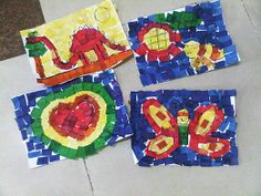 Kindergarten art -- tissue paper collage.