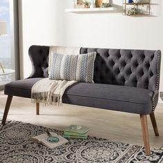 Baxton Studio Efthalia Mid Century Modern Upholstered Tufted Sofa (Beige),  Brown (Fabric)
