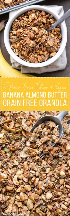 This Banana Almond Butter Grain Free Granola is a crunchy + filling snack, made without any grains or refined sugars! It makes the perfect yogurt or smoothie bowl topping, or just grab a handful to hold you over until your next meal.