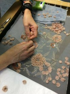Wonderful Ribbon Embroidery Flowers by Hand Ideas. Enchanting Ribbon Embroidery Flowers by Hand Ideas. Tambour Beading, Tambour Embroidery, Couture Embroidery, Embroidery Fashion, Silk Ribbon Embroidery, Embroidery Stitches, Hand Embroidery, Embroidery Designs, Formation Couture