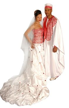 Ethnic and African bridal gown and groom's attire by TeKay Designs