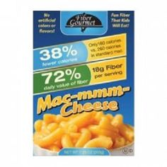 Fiber Gourmet Mac & Cheese. Fiber your kids will eat! Each easy-to-prepare dinner box comes with a tasty cheddar cheese packet, just like those Kraft blue boxes but without the artificial colors and flavors! And since it's FiberGourmet you know it's the world's healthiest mac & cheese: high in fiber (18g!), and low in calories.