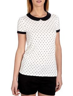 Camiseta con cuello claudine y estampado de lunares                                                                                                                                             estampado de lunares Mujer
