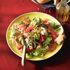 Herfstsalade  - Rucolasalade met stoofpeer, mozzarella en parmaham