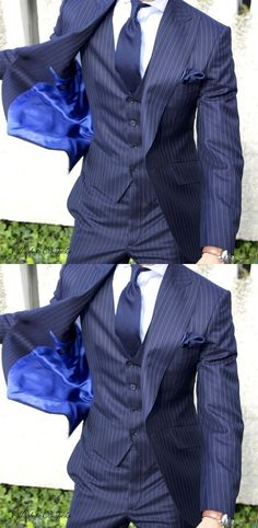 Latest Coat Pants Designs Gentleman Suit Stripe Groom Tuxedos Navy Blue 3 Pieces Slim Fit Mens Wedding Suits blazer masculino #menssuitsnavy