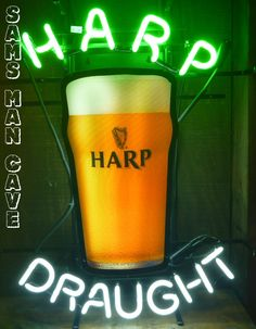 Sam's Man Cave - Harp Draught Glass Neon, $195.00 (http://www.samsmancave.com/harp-draught-glass-neon/)