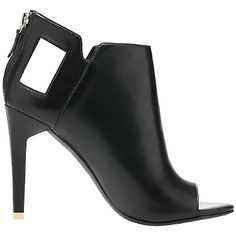 Alepel Ranzel Heeled Booties (381204502) (230 AUD) ❤ liked on Polyvore featuring shoes, boots, ankle booties, heels, ankle boots, black baby calf, black boots, short black boots, black high heel booties and open toe bootie