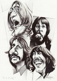 The Beatles in black and white: Caricatures│Caricaturas . Les Beatles, Beatles Art, Beatles Photos, Funny Caricatures, Celebrity Caricatures, Ringo Starr, John Lennon, Caricature Drawing, Drawing Art