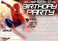 Party Invitations Spider Man Birthday Party - 10 cards per pack Spiderman | Cards & Stationery | Celebrations & Occasions - Zeppy.io