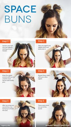 Check out our collection of easy hairstyles step by step diy. You will get hairstyles step by step tutorials, easy hairstyles quick lazy girl hair hacks, easy hairstyles step by step quick & easy hairstyles for work long lazy girl messy buns. Space Buns Hair, Medium Hair Styles, Curly Hair Styles, Hair Medium, Easy Hair Styles Quick, Medium Long, Short Styles, Medium Brown, Hair Styles With Buns