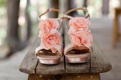 peach wedding shoe