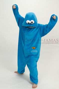 Sesame Streen Cookie Monster Onesie Kigurumi For Adult