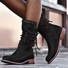 Leather Mid Calf Boots Retro Punk Lace-Up Low Heels Vintage Round Toe Cowboy Autumn Winter Boots Flat Heel Boots, Low Heel Shoes, Low Heels, Women's Shoes, Shoe Boots, Shoes Style, Black Boots Flat, Black Toe, Ankle Shoes