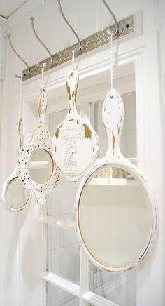 Vintage French Soul ~ Hang whitewashed vintage mirrors in the bathroom for a pretty, Shabby Chic decoration.