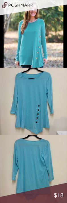 Blue Mint Side Button Tunic Blue Mint quarter sleeve side button down tunic. Stretchy and comfy. True to size. Meant to be loose and flowy 95% rayon, 5% spandex. Tops Tunics