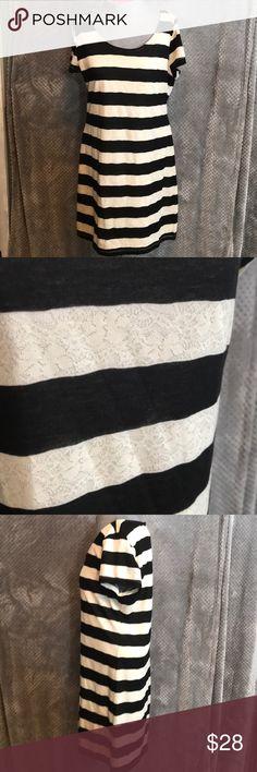 "Allen B black ivory lace stripe dress Fully lined dress. Lace and black stripes. Round neck. Bust 18"". Length 33"" Allen B. By Allen Schwartz Dresses Midi"