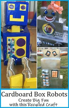 Kids of all ages will love creating over-sized cardboard box robots using recyclables. Perfect for pretend play or as a robot decoration at a party. #kidscrafts #craftsforkids #recycledcrafts #robotcrafts Monster Crafts, Robot Crafts, Fun Crafts For Kids, Preschool Crafts, Multicultural Crafts, Big Cardboard Boxes, Box Robot, Robot Theme, Activities For Teens