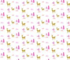 Meadow Deer45 SMALL -Pink  fabric by drapestudio on Spoonflower - custom fabric