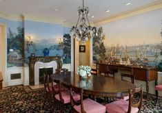 Dining room mural (Ron Howard's Dining Room with Historic Mural, Conyers Farm, Greenwich, CT)