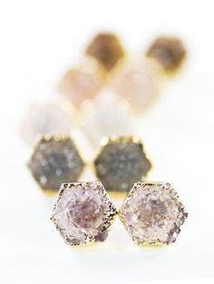 Hie earrings gold druzy hexagon