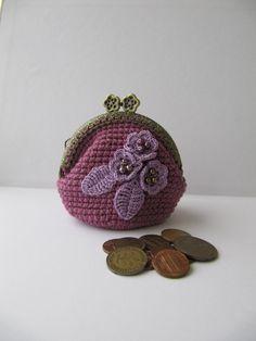 Crochet Coin Purse small Bag crochet Accessories Gift crochet Flower purse Purple Girl gift Change purse Kisslock Metal Frame purse crochet by KrugerShop on Etsy