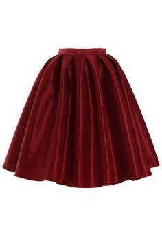 Wine Red A-line Midi Skirt