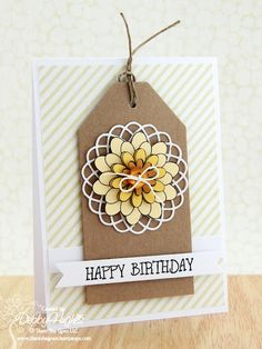 Handmade Cards - Paper Crafts - Lime Doodle Design - Debby Hughes - Part 173 Memory Box Cards, Memory Box Dies, Happy Birthday Tag, Birthday Cards, Punch, Stampin Up, Card Making Designs, Card Designs, Doodle Designs