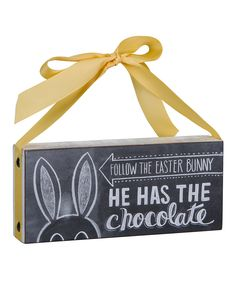 Look at this 'Follow Bunny' Chalk Sign on #zulily today!