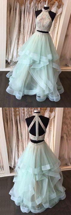 gorgeous prom dress, two piece long prom dress, 2018 sage prom dress, formal evening dress party dress