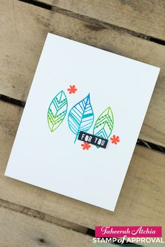 For You Modern Leaves Card featuring ombre inking