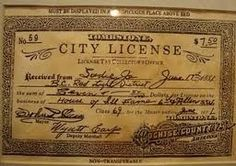 This is a prostitution license from Tombstone, AZ. 7.50 for one year. This one is for a woman who called herself Sadie Jo (prostitutes rarely used their real names). And if you look at the bottom left, it's signed by Wyatt Earp! Even more special, Wyatt Earp ended up marrying Miss Sadie Jo!