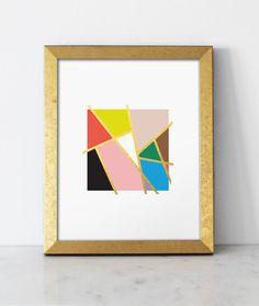 Mondrian Love Print  Gold Foil   8x10 wall art by BelloPop on Etsy, $35.00