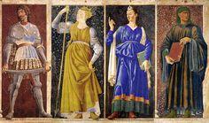 Hogwarts Founders.    Godric Gryffindor, Helga Hufflepuff, Rowena Ravenclaw, and Salazar Slytherin.