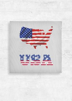 View Wood Wall Art - - United States of America Vida Design, Wood Paneling, Wood Wall Art, Oil On Canvas, Street Art, Original Art, Flag, United States, Baltic Birch