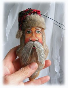 Painted fabric face with fabric hat, Santa Claus Ornament inspiring face for light bulb