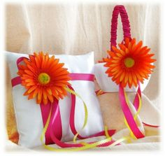 Gerber Daisy Wedding Pillow Basket - Flower Girl Basket and Ring Bearer Pillow Fuchsia and Yellow Wedding Colors, Spring