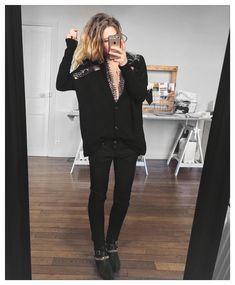 black  gold cardigan Serge #eponymcreation body #asos sur @asos_fr jean #aninebing sur @cyrielleforkure boots #chiaraferragni (old) #ootd by meleponym