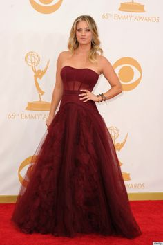 Kaley Cuoco at Emmy 2013  http://www.huffingtonpost.com/2013/09/22/kaely-cuoco-emmy-dress-2013_n_3973186.html?ncid=edlinkusaolp00000003