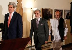 """awesome """"Unity Govt Has No Legitimacy after Sept 8"""" :  Ahadi http://Newafghanpress.com/?p=16767 US Secretary of State John Kerry (L) and Afghan presidential candidates Ashraf Ghani (R) and Abdullah Abdullah (C) arrive for a joint press conference in Kabul on July 12, 2014.  US Secretary of State John Kerry on July 12 held a second day of talks with Afghanistan's feuding presidential hopefuls, seeking a deal to """"clean up the tally"""" after disputed elections. AFP PHOTO / POOL / JIM BOURG"""