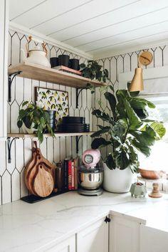 Cozy Kitchen, Ikea Kitchen, Kitchen Decor, Kitchen Design, Kitchen Ideas, Pink Smeg Fridge, White Floating Shelves, Cottage Living, Small Space Living