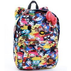 b72316685a Plus Size Loungefly Hello Kitty Street Fighter Sanrio Backpack Plush Ears  Bow School Bag image Hello