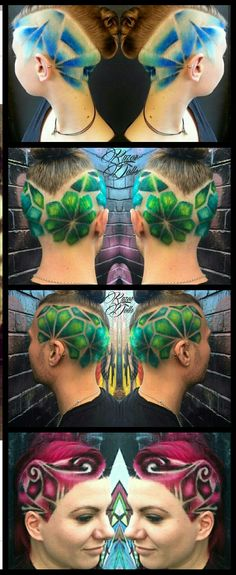 3 different #blue #green and pink dyed #shaved haircut designs @angela_doll