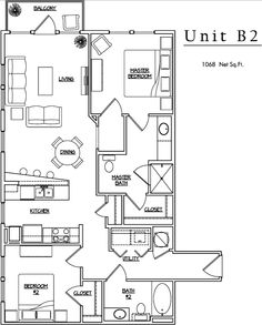Unit B2 - 1 BR, 1 BA - 1068 Net Sq.Ft.