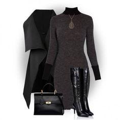 abito grigio accessori total black