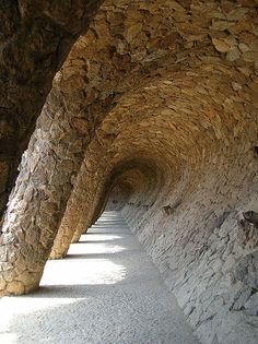 "The colonnade ""La Ola"" in the park Güell in Barcelona."