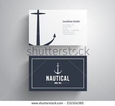 Business card with retro vintage logo marine, nautical, anchor, sail, sailor. Corporate, company, identity, branding, brand. Clean, modern and elegant, hipster style