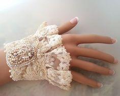 Nostalgie lace cuff bracelet, antique lace bracelet, wrist cuff, bead embroidery jewelry, Victorian wedding, Fairy Tale wedding