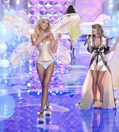 2014 Victoria's Secret Fashion Show Karlie Kloss walks the runway during the 2014 Victoria's Secret Fashion Show in London on Dec. 2, 2014 w new BFF Taylor Swift singing songs from1987
